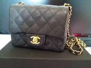 Chanel Bag17 cm 黑金牛皮 95%new