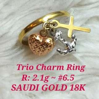 ( size: 6.5 ) 18K SAUDI GOLD RING