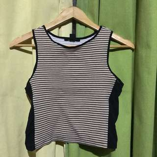 Side Mesh Brown Top with Stripes