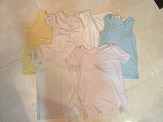 Uniqlo 涼感衣、背心、短袖五件+1件短袖發熱衣💕全部6件180