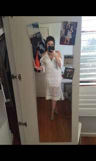 Laser cut lace frill dress