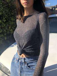 Black Sparkly Long Sleeve Top