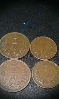 日本二及一錢銅幣