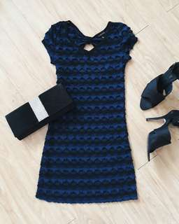 Striped Black and Blue Cocktail Dress