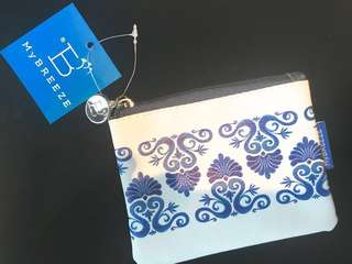 BNWT MYBreeze Vegan Leather Greek Design Large Coin & Card Pouch