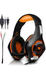 (191) Beexcellent Gaming Headset with Microphone for New Xbox PS4 PC Smart phone Laptops- Surround Sound, Noise Reduction Game Earphone - Easy Volume Control with LED Lighting 3.5MM Jack (Orange)