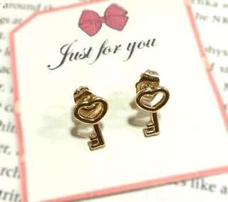 Golden Heart Key Fancy Stud Earrings
