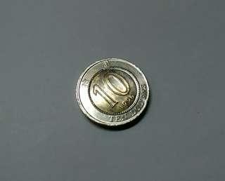 錯體幣1996年香港拾圓(double -rimmed & off center)中心非常規及雙邊。