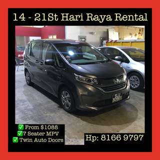 Honda Freed MPV - 14-21st June Hari Raya Car Rental