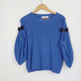 [RESERVED] Korean Fashion Style Slit Arm Blue Sweater Top Blouse