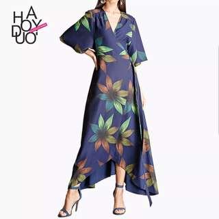 [PO] Boho Maxi Floral Wrap Dress (56)