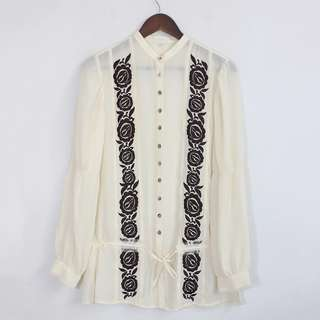 [RESERVED] (S-M) Embroidered Cream Semi-Sheer Tied-Front Blouse Top