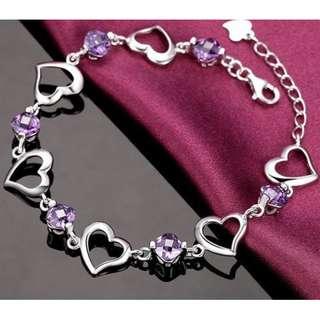 🚚 紫晶鋯石晶鑽愛戀心扉手鍊