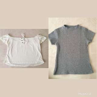 White off shoulder crop top and Gray fitted top