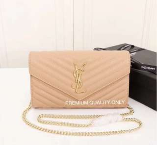 YSL Saint Laurent Wallet on Chain- beige