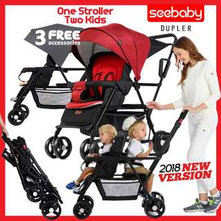 Seebaby Dupler Twin Stroller for 2 babies Stroller from newborn ~ 3yrs old