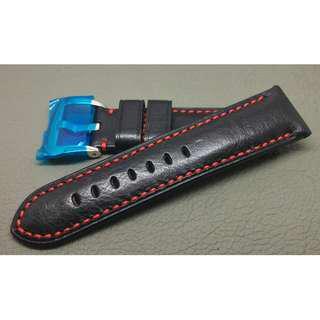 PANERAI 代用 24mm錶帶 (ref:2422黑色紅線)