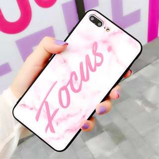 (PO) Focus Word Pink Marble Background iPhone Casing