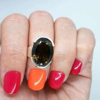 Smoky Quartz Ring, Size 4 3/4 US, Sterling Silver, Healing Rock