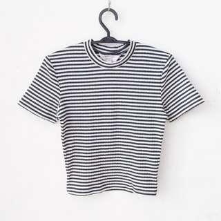 Ribbed striped crop top shirt