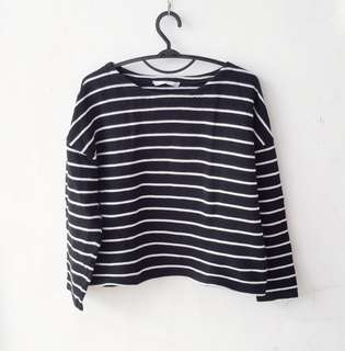 Stripped Black and White Sweater Top