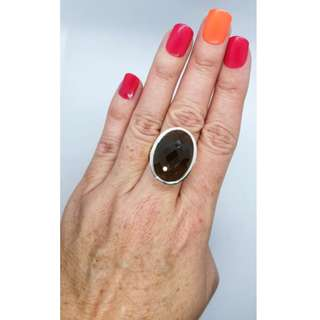 Smoky Quartz Ring, Size 8 3/4 US, Sterling Silver, Grounding ♡