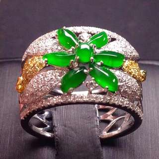 GZ-36批發價: ¥ 【女戒指,冰正陽綠】 水潤,玉質細膩,冰透,完美無瑕,18K金奢華鑽石鑲嵌