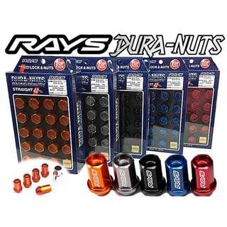 🚚 [日本進口]Rays Dura Nuts 鍛造7075鋁合金防盜鋁圈螺絲螺母M12x1.5(藍色) 86 馬3 馬6 K12 IS300