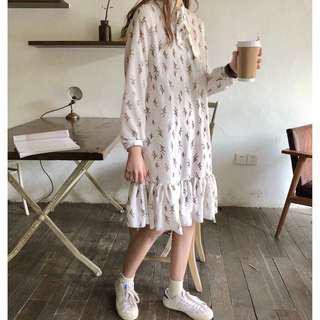 韓國連衣裙2018春裝復古碎花洋裝裙