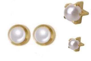Brand New USA 🇺🇸 STUDEX Surgical Steel 14K Gold Plate - Pearl Ear Studs # STUDEX (2)