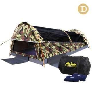 Double Size Canvas Tent - Green Camouflage