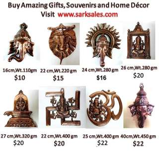 Many knds of wall hanging Ganesha statue idol in copper hand made
