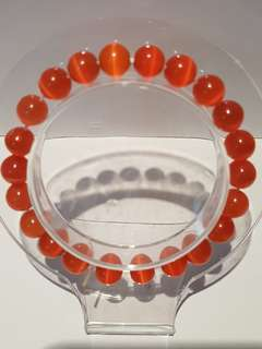 Orange Cat Eyes Bracelet 橙色猫眼石手链 (8mm)