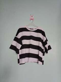 Oversized Black and White Stripes Tee