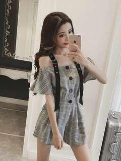 🚚 2018夏季新款韓版女裝 一字肩連身褲 超顯瘦