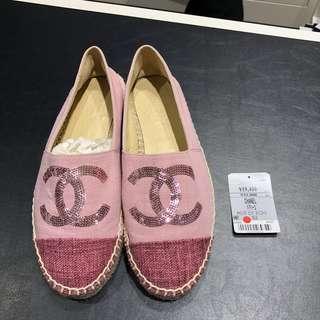 全新絕版Chanel 香奈兒 草鞋 布鞋 平底鞋♡