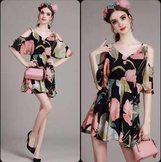 Floral Chiffon Cold Shoulder Dress