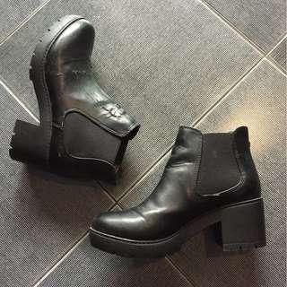 Grunge Platform Black Ankle Boots