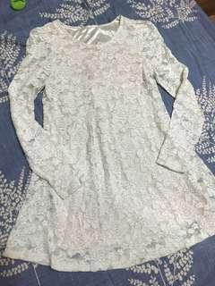 🚚 蕾絲花小洋裝-白