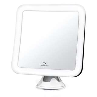 """762.Fancii 7x LED Lighted Magnifying Makeup Mirror with Strong Suction - 6.5"""" wide, Natural Daylight, Cordless Portable Vanity Mirror with Lights (Square) - Mira 7"""