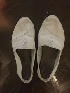 Toms White Canvas Slip Ons