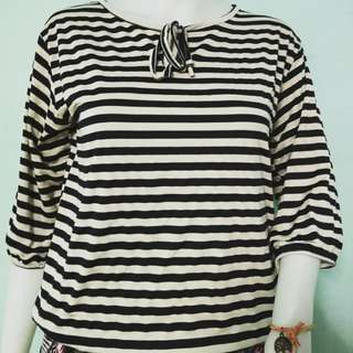 3/4 sleeve Stripes Top