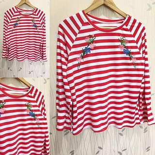 Embroided Stripes Longsleeves ❤️❤️