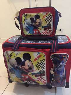Mickey Mouse trolley bag with lunch bag