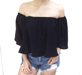 Black with lace detail off shoulder