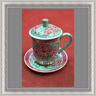 Vintage Peranakan Big Cup With Lid