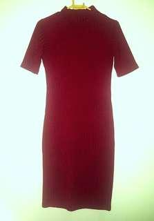 Ribbed mockneck dress