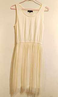 =保存良好= 白色紗裙 背心洋裝 夏季百搭 歐美日韓