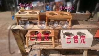 實木製寵物用碗架