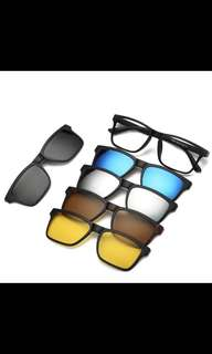 Clip on wayfarer design 5 in 1 sunglasses from Dubai
